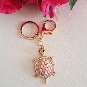 Pink Turtle Keychain